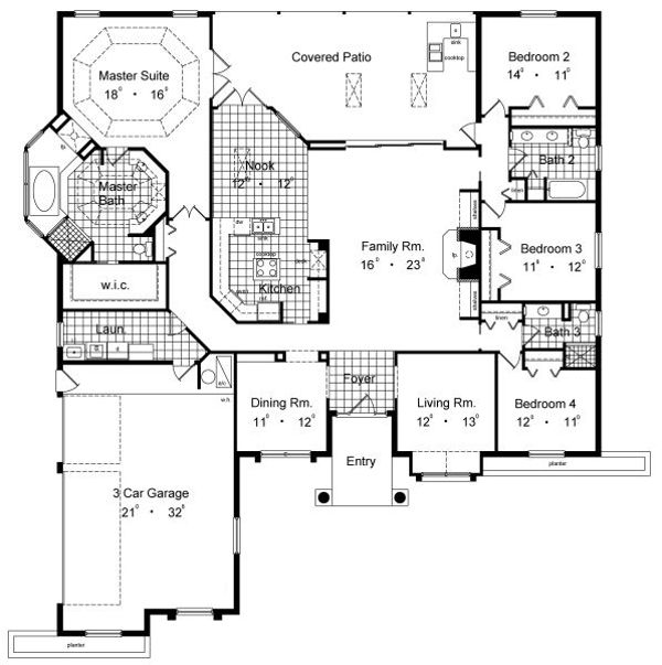 European Floor Plan - Main Floor Plan Plan #417-350