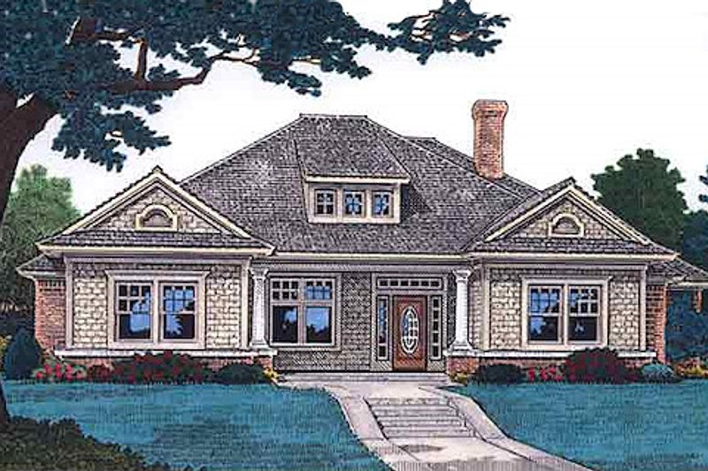Cottage Exterior - Front Elevation Plan #310-702