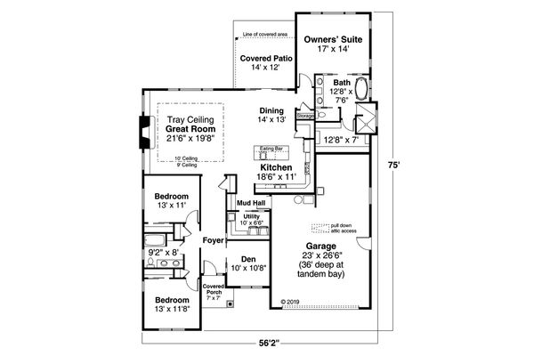 Prairie Floor Plan - Main Floor Plan Plan #124-1195
