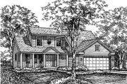 Traditional Style House Plan - 3 Beds 2.5 Baths 1698 Sq/Ft Plan #50-155 Exterior - Front Elevation