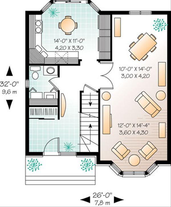 European Floor Plan - Main Floor Plan Plan #23-2172