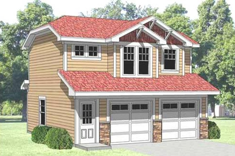 Farmhouse Style House Plan - 1 Beds 1 Baths 500 Sq/Ft Plan #116-129 Exterior - Front Elevation