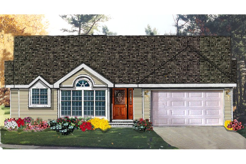 Ranch Exterior - Front Elevation Plan #3-124