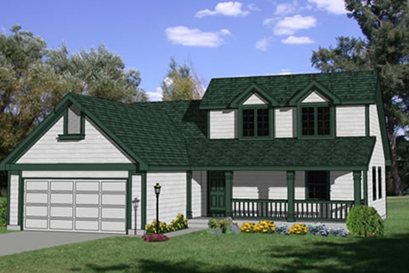 Traditional Style House Plan - 4 Beds 2 Baths 1398 Sq/Ft Plan #116-215 Exterior - Front Elevation