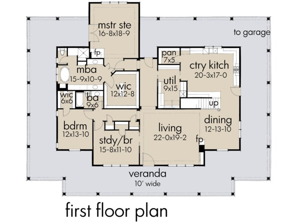 Architectural House Design - Farmhouse Floor Plan - Main Floor Plan #120-254