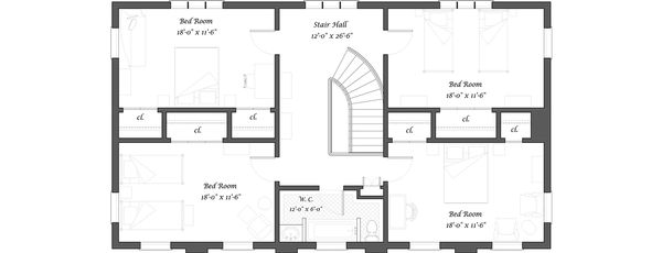 Classical Floor Plan - Upper Floor Plan Plan #492-4