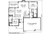 Contemporary Style House Plan - 3 Beds 2 Baths 1501 Sq/Ft Plan #70-1490 Floor Plan - Main Floor Plan