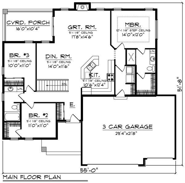 Contemporary Floor Plan - Main Floor Plan Plan #70-1490