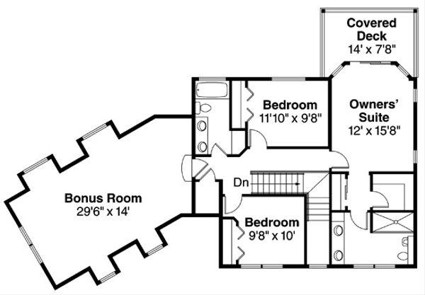 Colonial Floor Plan - Upper Floor Plan #124-838