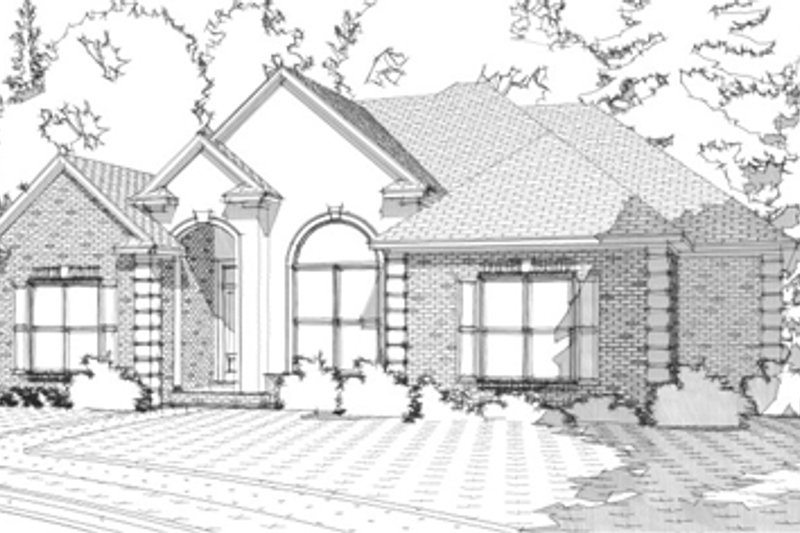 European Exterior - Front Elevation Plan #63-297