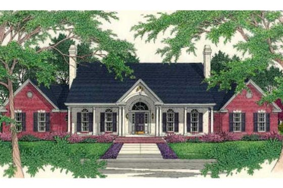Southern Exterior - Front Elevation Plan #406-106