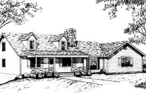 Country Exterior - Front Elevation Plan #10-232