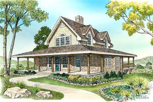 Cottage Exterior - Front Elevation Plan #140-130