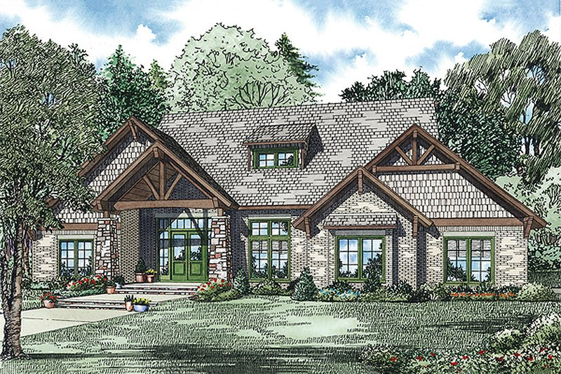 Craftsman Style House Plan - 4 Beds 3.5 Baths 3594 Sq/Ft Plan #17-2445 Exterior - Front Elevation