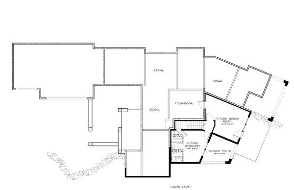 Prairie Style House Plan - 3 Beds 2.5 Baths 3095 Sq/Ft Plan #895-7 Floor Plan - Lower Floor Plan