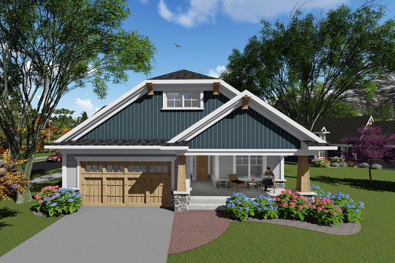 Ranch Exterior - Front Elevation Plan #70-1264