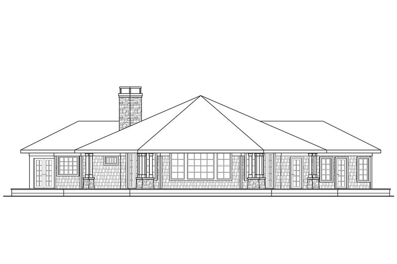 Ranch Exterior - Rear Elevation Plan #124-472 - Houseplans.com