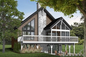 Cabin Exterior - Front Elevation Plan #23-392