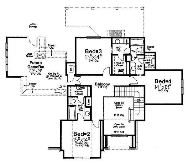 Tudor Floor Plan - Upper Floor Plan Plan #310-656