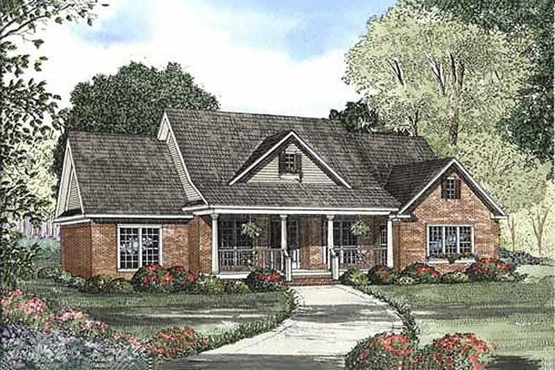Southern Style House Plan - 4 Beds 3.5 Baths 2394 Sq/Ft Plan #17-627 Exterior - Front Elevation