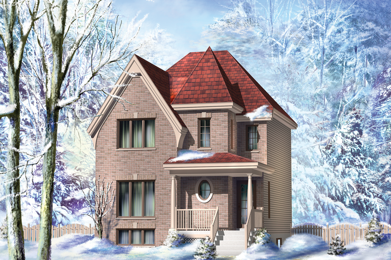European Style House Plan - 3 Beds 1 Baths 1354 Sq/Ft Plan #25-4556 Exterior - Front Elevation
