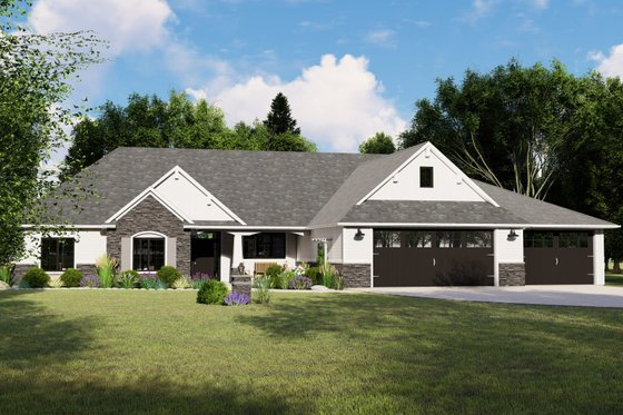 Ranch Exterior - Front Elevation Plan #1064-64