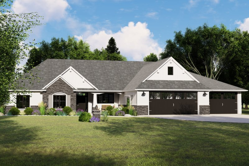 Architectural House Design - Ranch Exterior - Front Elevation Plan #1064-64