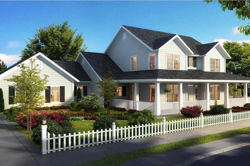 Farmhouse Style House Plan - 3 Beds 4 Baths 2796 Sq/Ft Plan #513-2172 Exterior - Front Elevation