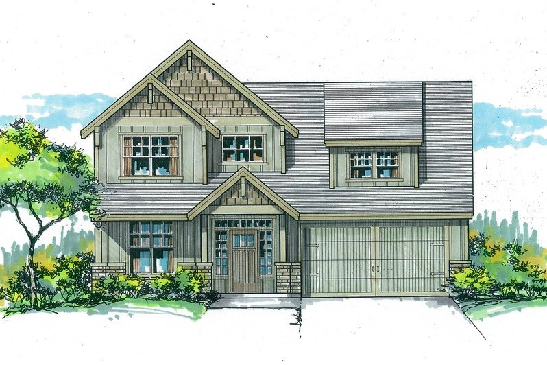 Craftsman Style House Plan - 3 Beds 2.5 Baths 1867 Sq/Ft Plan #53-570 Exterior - Front Elevation