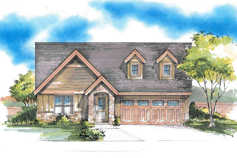 Craftsman Style House Plan - 3 Beds 2 Baths 1417 Sq/Ft Plan #53-569 Exterior - Front Elevation