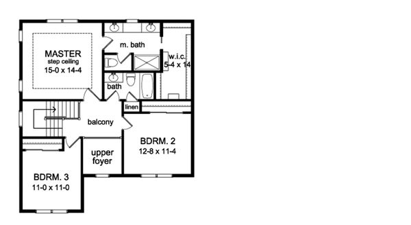 Traditional Floor Plan - Upper Floor Plan Plan #1010-206