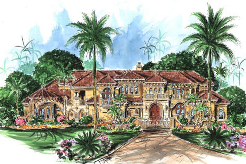 Mediterranean Style House Plan - 6 Beds 8.5 Baths 10178 Sq/Ft Plan #27-279 Exterior - Front Elevation