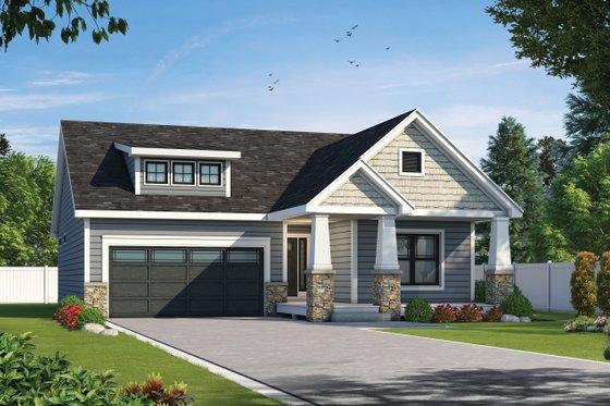 Cottage Exterior - Front Elevation Plan #20-2399