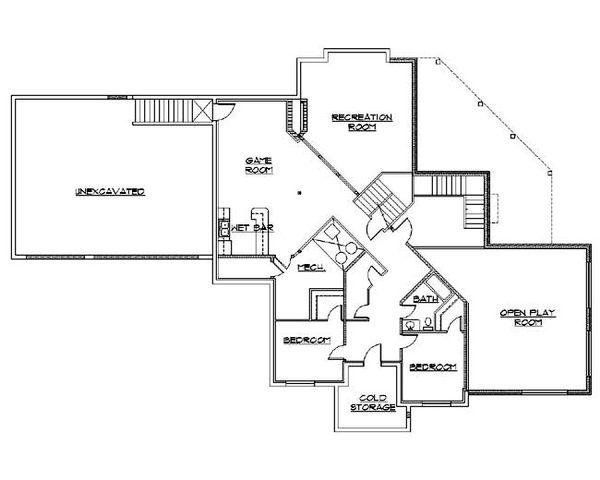 Architectural House Design - Traditional Floor Plan - Lower Floor Plan #5-470