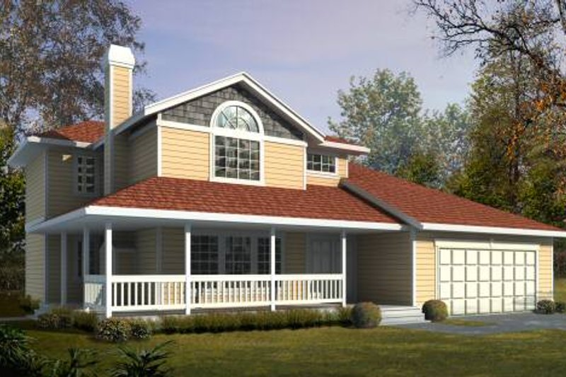 Country Style House Plan - 3 Beds 2.5 Baths 1467 Sq/Ft Plan #85-209 Exterior - Front Elevation