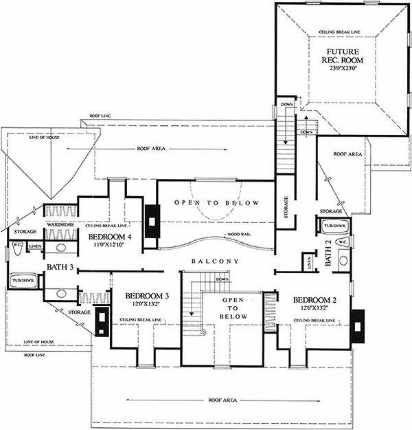 Southern Floor Plan - Upper Floor Plan Plan #137-234
