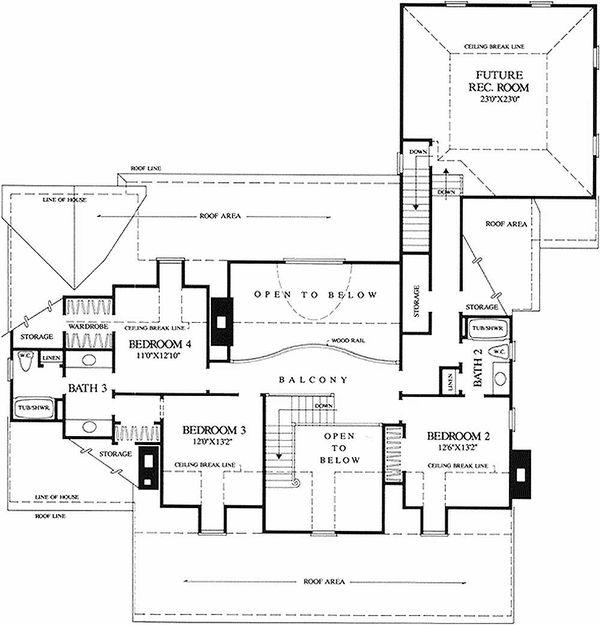 Southern Floor Plan - Upper Floor Plan Plan #137-234