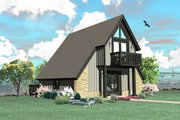 Contemporary Style House Plan - 1 Beds 1 Baths 734 Sq/Ft Plan #81-13762 Exterior - Rear Elevation