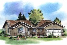 House Blueprint - Ranch Exterior - Front Elevation Plan #18-195