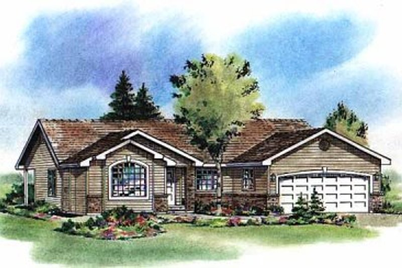House Blueprint - Ranch Exterior - Front Elevation Plan #18-195