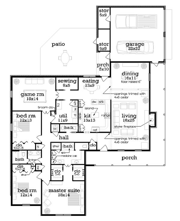 Country Floor Plan - Main Floor Plan Plan #45-432