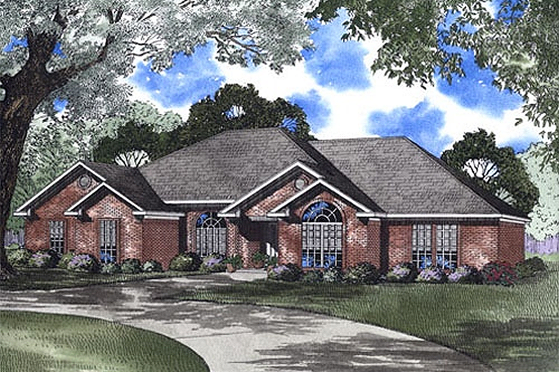 Ranch Style House Plan - 4 Beds 2.5 Baths 2147 Sq/Ft Plan #17-1088 Exterior - Front Elevation