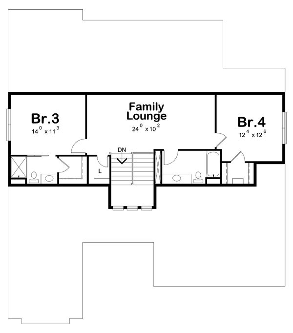 Craftsman Floor Plan - Upper Floor Plan Plan #20-2281