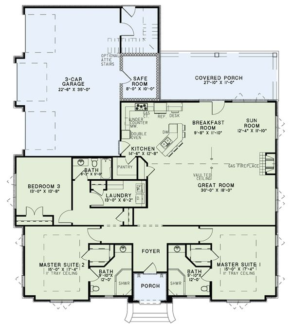 European Floor Plan - Main Floor Plan Plan #17-2548