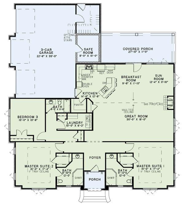 House Plan Design - European Floor Plan - Main Floor Plan #17-2548