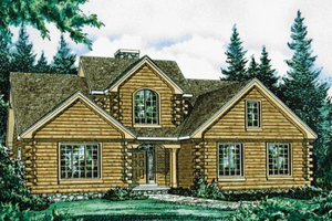 Log Exterior - Front Elevation Plan #20-1329
