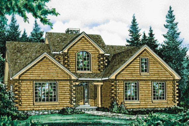 Log Style House Plan - 3 Beds 2.5 Baths 2516 Sq/Ft Plan #20-1329 Exterior - Front Elevation