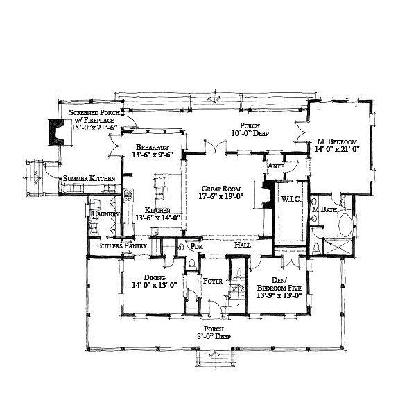 Southern Style House Plan - 5 Beds 4.5 Baths 3814 Sq/Ft Plan #464-12 Floor Plan - Main Floor Plan
