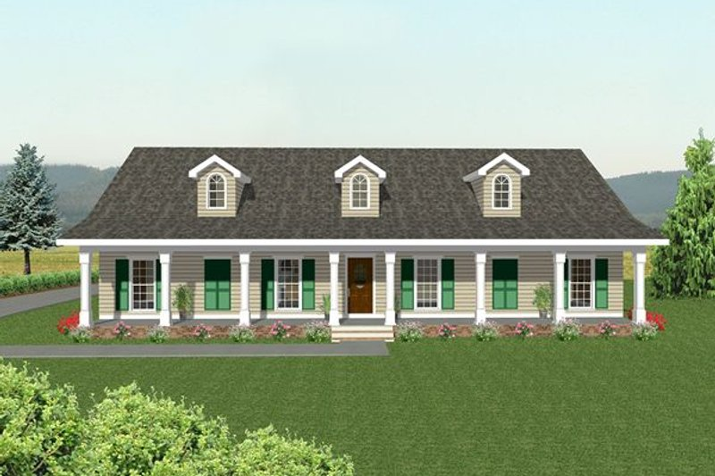 Country Exterior - Rear Elevation Plan #44-108 - Houseplans.com