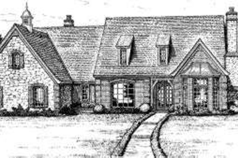 European Style House Plan - 4 Beds 3.5 Baths 4082 Sq/Ft Plan #310-198 Exterior - Front Elevation